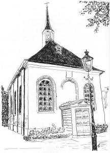 Het Protestantse kerkje in de Kerkstraat in Oisterwijk. (tekening Pierre Lombarts)