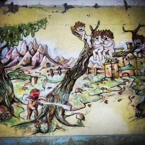 Een foto van de muurschildering zoals die werd aangetroffen in de KVL.