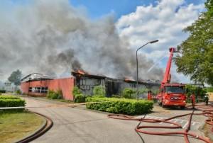 Het dak is ingestort en de hal is volledig verwoest (Foto; Toby de Kort).