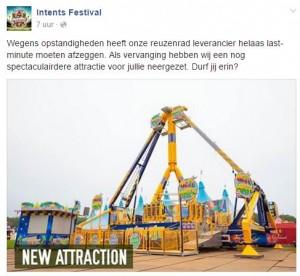 geen reuzenrad op Intents festival Oisterwijk