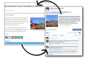 Links het bericht op Oisterwijknieuws.nl en rechts het bericht op facebook, met een heen-en-weer verbinding tussen beide media...